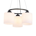 Frosted Glass Cylinder Suspension Light Dining Room 3 Lights Traditional Hanging Light in White
