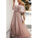 Summer Sexy Off the Shoulder Half Sleeve Plain Floor Length A-Line Chiffon Dress