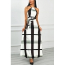 New Stylish Halter Neck Sleeveless Plaid Print Bow-Tide Waist Maxi A-Line White Dress