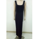 Women's Fashion Simple Plain Sleeveless Scoop Neck Backless Split Hem Tank Black Dress