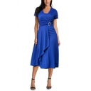 Summer New Stylish Plain Short Sleeve V-Neck Asymmetric Hem Midi Dress For Women