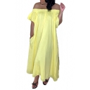 New Stylish Off The Shoulder Short Sleeve Plain Casual Loose Maxi Shift Yellow Dress For Women