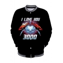 Cool Iron Hand Heart Letter I LOVE YOU 3000 Rib Stand Collar Long Sleeve Button Down Sport Black Baseball Jacket
