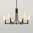 Cylinder Shade Dining Room Chandelier Metal 6 Lights American Rustic Pendant Lamp in Black