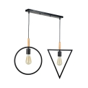 Industrial Ring Triangle Ceiling Light Metal 2 Lights Black Suspension Lamp for Dining Room