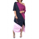 Women's One Shoulder Short Sleeve Colorblock Printed Split Side Casual Maxi Shift Pink Cotton Dress