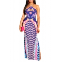 Women's Hot Fashion Halter Neck Sleeveless Printed Split Side Bodycon Maxi Nightclub Purple Dress