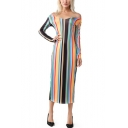 New Trendy Off The Shoulder Long Sleeve Stripes Printed Maxi Shift Dress