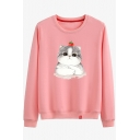 Cartoon Tomato Cat Printed Round Neck Long Sleeve Cotton Sweatshirt