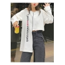 Hot Sale Round Neck Long Sleeve Letter Asymmetric Hem Sweatshirt