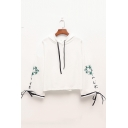 New Stylish Letter Leaf Embroidered Bow Tie Bell Sleeve Drawstring White Cotton Hoodie