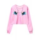 Pink Cartoon Comic Eyes Printed Round Neck Long Sleeve Cropped Sweatshirt