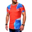 New Trendy Red Painting Print Round Neck Short Sleeve Slim T-Shirt