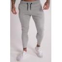 Guys Fashion Striped Zipper Cuff Drawstring Waist Cotton Fitness Muscle Pencil Pants