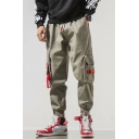 Guys New Trendy Ribbon Embellished Drawstring Waist Loose Fit Cargo Pants