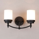 Cylinder Shade Stair Wall Light Frosted Glass 2 Lights American Rustic Sconce Lamp in Black