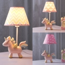 1 Light Unicorn LED Desk Lamp with Tapered Shade Lovely Resin Reading Light in Blue for Girl Bedroom