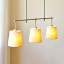 Bucket Shade Restaurant Island Lamp Fabric 3 Lights Nordic Style Hanging Light in Green