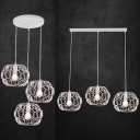 Antique White Pendant Lamp with Linear/Round Canopy 3 Lights Metal Ceiling Light for Restaurant