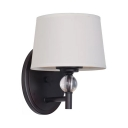 Drum Shade Bedroom Wall Light with Crystal Metal 1 Light Industrial Wall Lamp in White