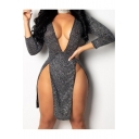 Summer New Stylish Solid Color Sexy Plunged V-Neck Cutout Front Mini Grey Sequined Club Dress