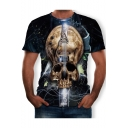 Funny Creative Guitar Skull Printed Round Neck Short Sleeve Black T-Shirt