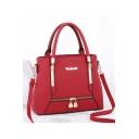 Simple Fashion Metal Zipper Embellishment Shoulder Handbag for Women 30*11*23 CM