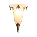 Vintage Style Cone Shade Sconce Light 1 Light Frosted Glass Carved Wall Lamp in White for Foyer