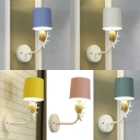 Macaron Loft Cylinder Wall Light Metal 1 Light LED Sconce Lamp with Deer Horn for Bathroom