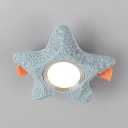 Star Shape Flush Light Mediterranean Style Metal Ceiling Light with Warm/White Lighting for Baby Room