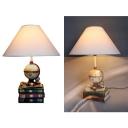 Resin Book Globe Desk Light 1 Light Antique Style LED Nursery Nightlight in White for Study Room
