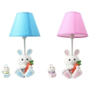 Cartoon Blue/Pink Night Light Carrot Rabbit 1 Light Resin Dimmable Plug In Reading Light for Kid Bedroom