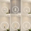 Dining Room Ring Suspension Light with Cartoon Pattern Metal Modern White Pendant Light