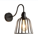 Industrial Bell Wire Frame Wall Lamp Metal 1 Light Black Wall Sconce for Bar Restaurant