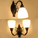 Traditional Dome Shade Wall Light 1/2 Lights Metal Sconce Light in Black for Bathroom Restaurant