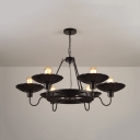 Vintage Black Chandelier Scalloped Edge 6 Lights Edison Bulb Hanging Light for Restaurant