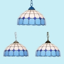 Blue Lattice Ceiling Light 1 Light Tiffany Style Modern Glass Pendant Lamp for Dining Room