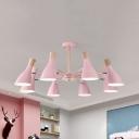Bottle Girls Bedroom Chandelier Wood 3/6/8 Lights Nordic Style LED Hanging Lamp in Pink