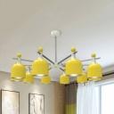 Yellow Dome Shade Chandelier 3/5/10 Lights Macaron Loft Metal Hanging Light for Kindergarten