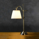 Traditional Striped Tapered Shade Desk Light Metal 1 Light Antique Brass Study Light for Bedroom