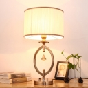 Fold Drum Shade Villa Table Light Fabric 1 Light Elegant Reading Light with Crystal in White