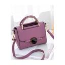 Women's Elegant Solid Color Button Embellishment Work Satchel Handbag 21*9*17 CM