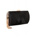 Fashion Plain Crisscross Design Tassel Embellishment Evening Clutch Bag 17.5*7*11CM