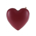 Chic Solid Color Heart Shape Crossbody Clutch Bag with Chain Strap for Women 15*2*13 CM