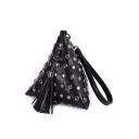 Designer Plain Rivet Tassel Embellishment Triangle Clutch Bag with Strap 18*18*18 CM