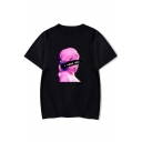 Vaporwave Funny Figure Letter I NEED YOU Printed Round Neck Short Sleeve Casual Tee