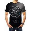 Trendy House Targaryen Dragon Badge Pattern Round Neck Short Sleeve Grey T-Shirt