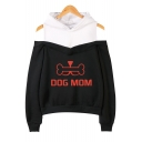 Popular Funny Bone Letter DOG MOM Printed Cold Shoulder Long Sleeve Casual Loose Hoodie