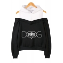 Unique Cool Letter Dog Mom Print Cold Shoulder Long Sleeve Casual Sport Hoodie
