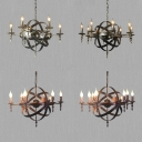6/8 Lights Candle Chandelier Vintage Style Wrought Iron Hanging Light in Aged Brass/Rust